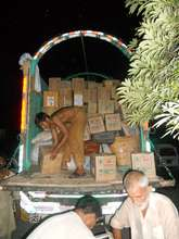 Loading gift cartons into a truck