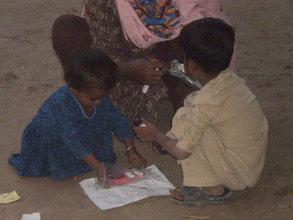 Children enjoying their presents
