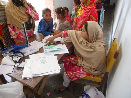 Registeration of patient at FMH Relief Camp
