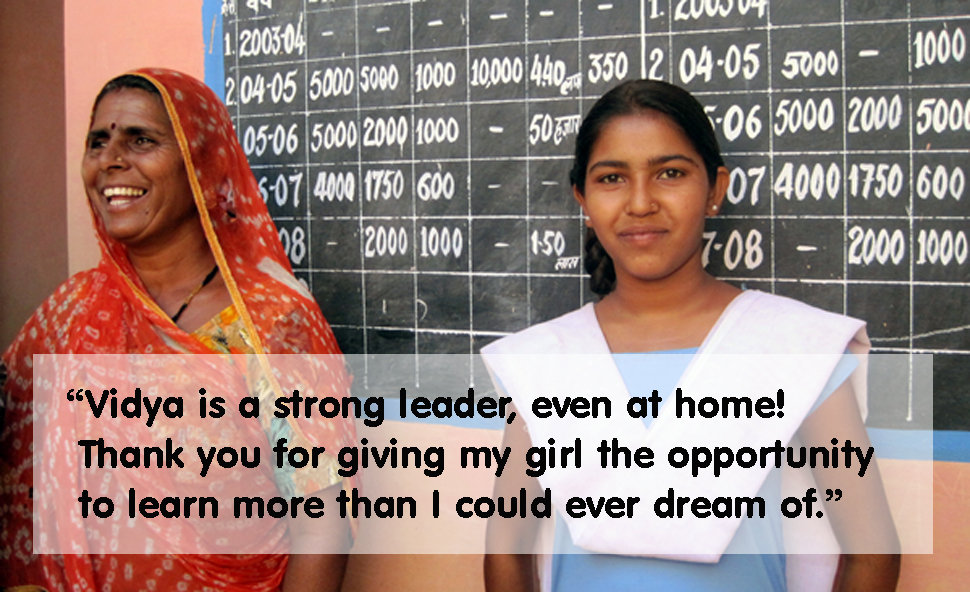 Leader of Girls Council Vidya with her mother