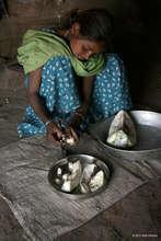 Preparing the sabjee for the family's dinner