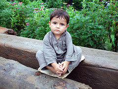 The photo was taken during the flood 2010 in Pakistan during the free child vaccination camp.