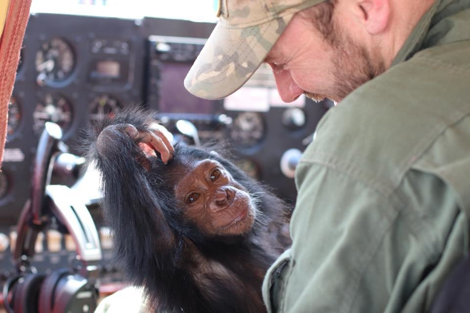 Anthony, the pilot taking the chimp to Lwiro