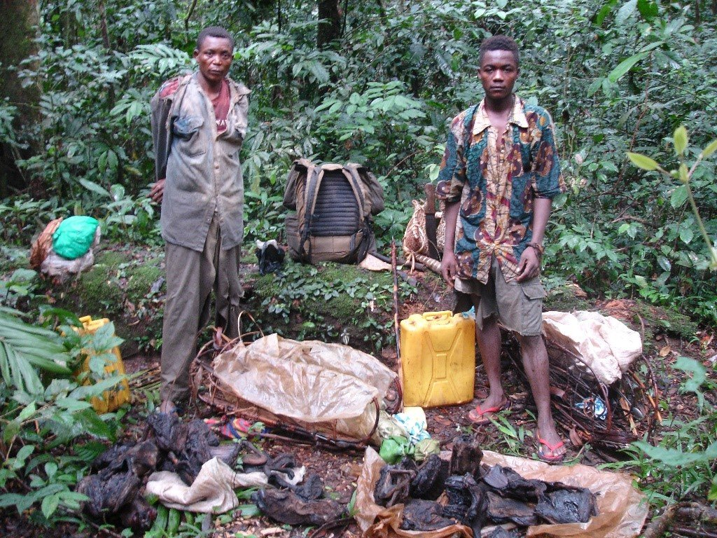 Arrested poachers and their bushmeat stash