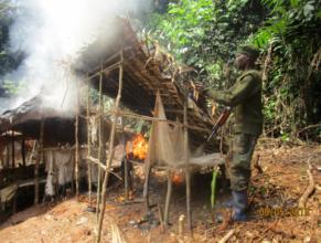 Burning a mining camp