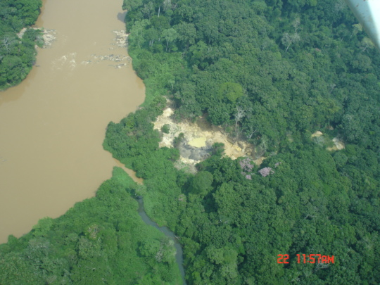 Illegal gold mine from aerial survey