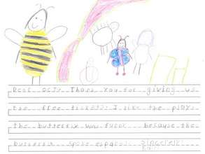 Drawing and note from a young fan