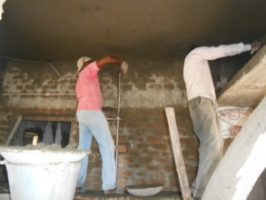 Plastering work is being done