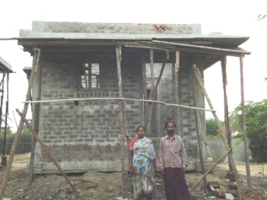 Beneficiaries during the construction of the house