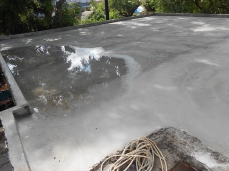 Water curing of slab