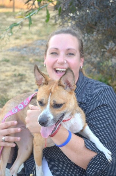 Sarah Williams-Jarred and shelter dog Baye