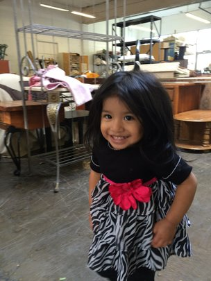Angelica's daughter at the Warehouse