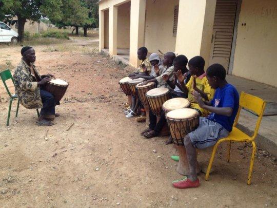 Beginners with djembe teacher Modibo Traore