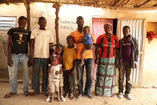 Seidou Kone, his wife, and seven children