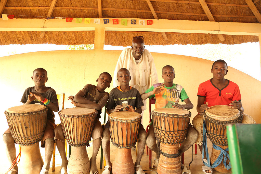 Seidou Kone and Students in Percussion Class