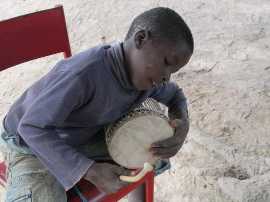 Percussion student in Kirina, Mali