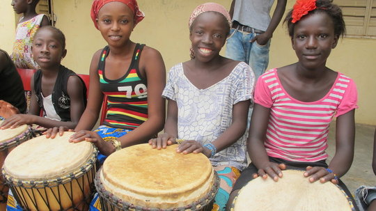 Girls join the instrument classes