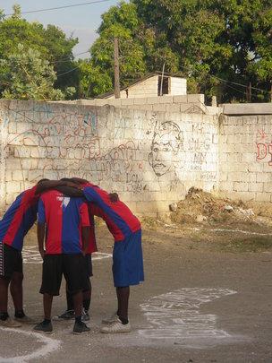 Pre-game huddle.