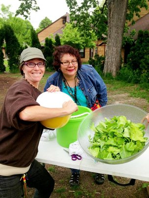 Christina & Felicia at our 24th Street Urban Farm