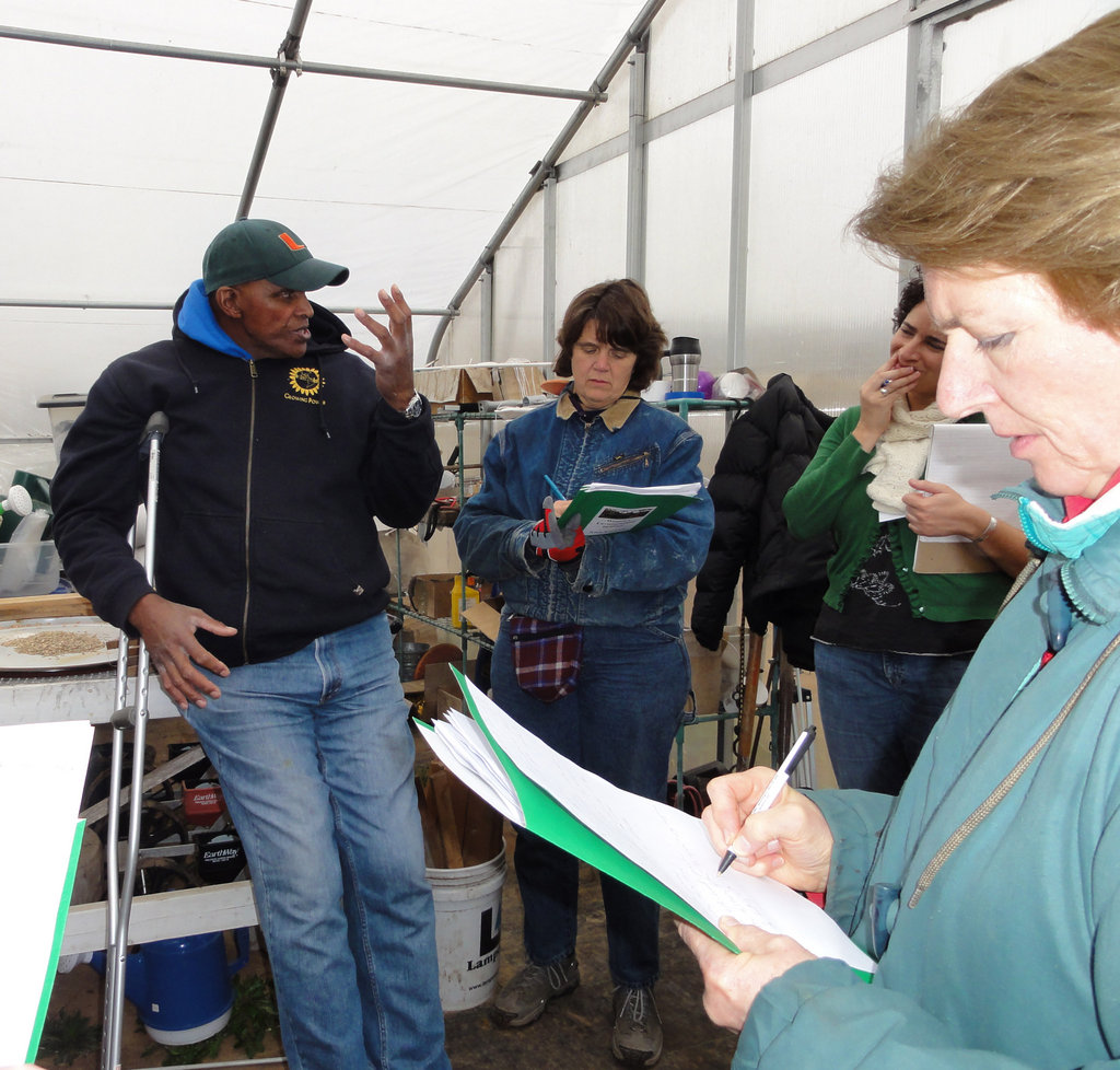Will with students in the Microgreens Workshop