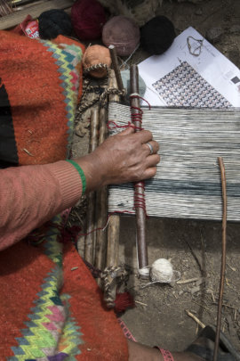 A Patacancha weaver works on Ale's new designs.