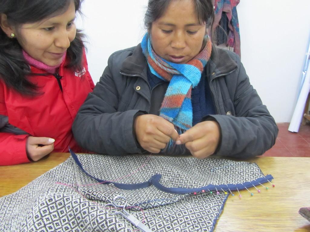 Estela cutting the skirt sample