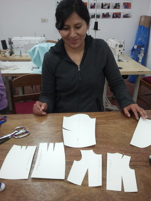 Prof Paula with mini pattern pieces