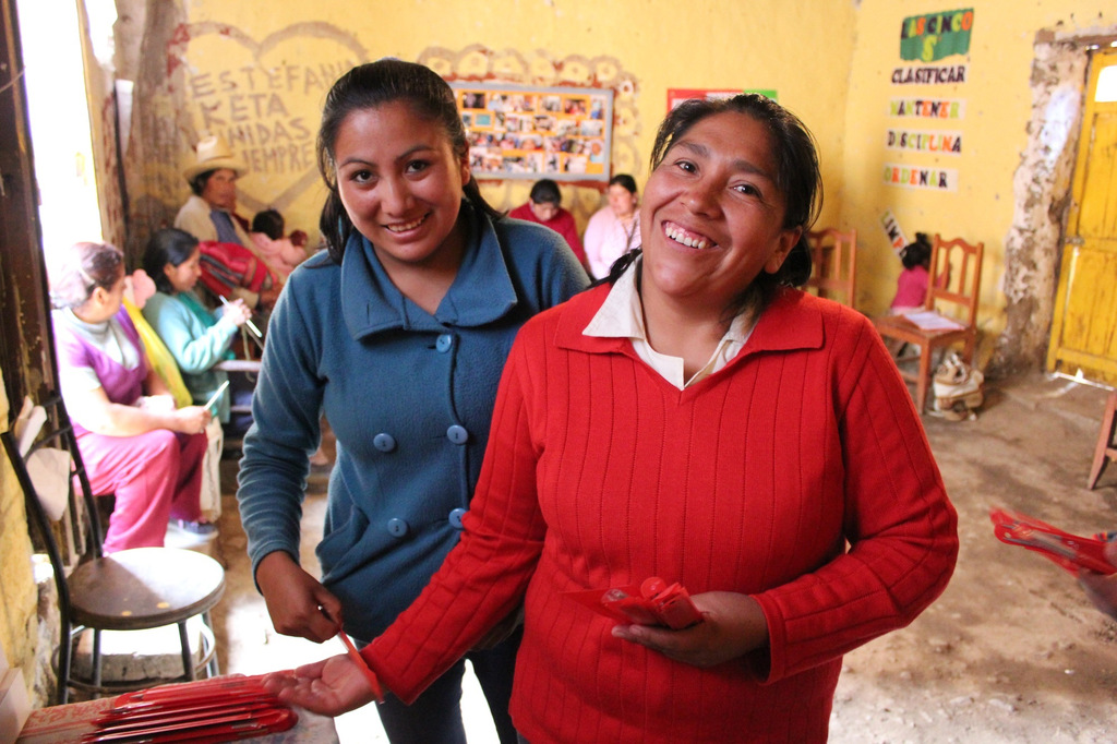 Knitter Rosa, right, with staff member Silvia