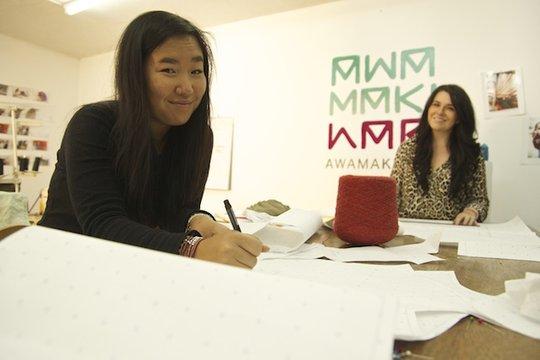 Volunteer designers at work in studio