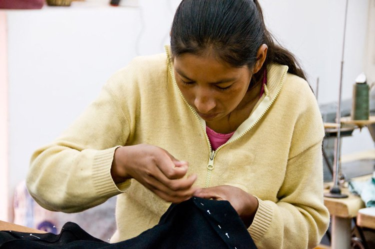 Florentina working on S1 tie-front jacket