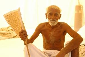 Elderly Displaced Man at Refuge Camp