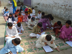 Non formal school's students attempting exam
