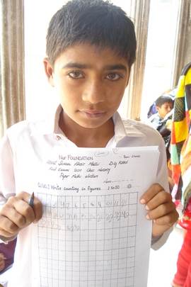 Student proudly displaying his test paper