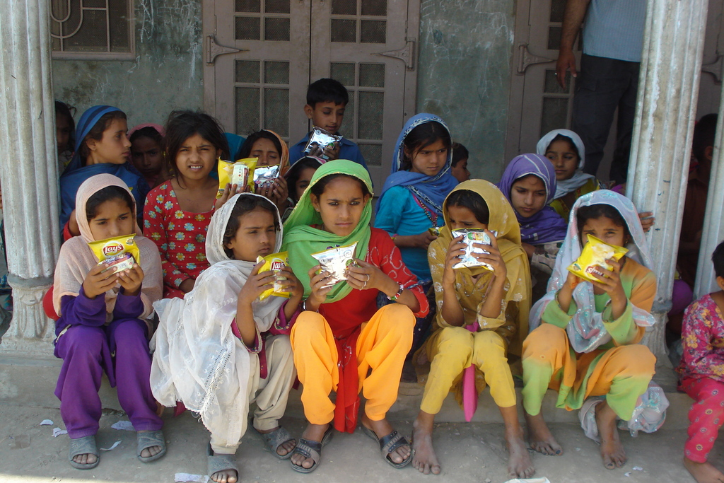 Students happily munching on their snacks