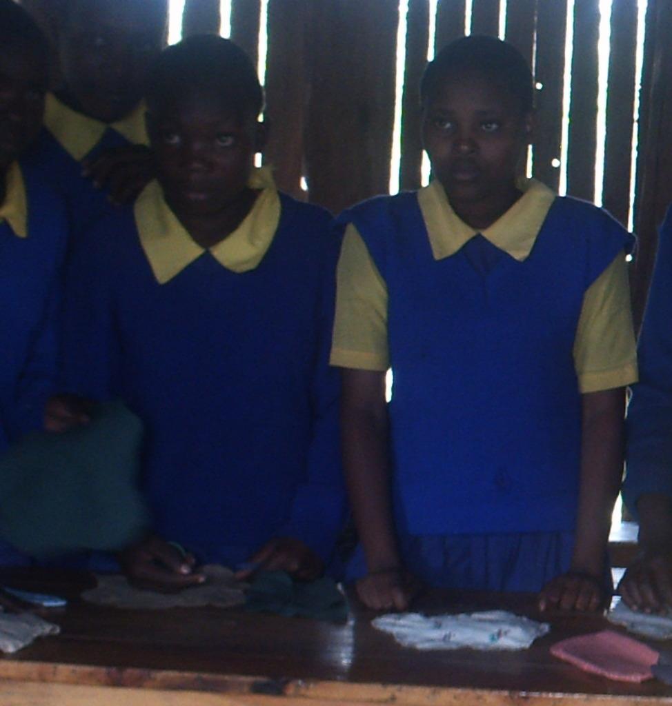 Girls making sanitary towels