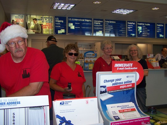 Christmas packages at the post office