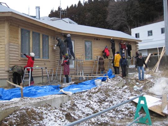 Volunteers painting Community Center
