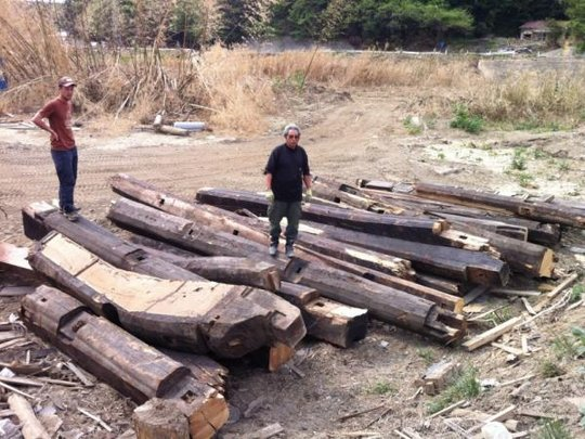 Timber salvaged from the tsunami