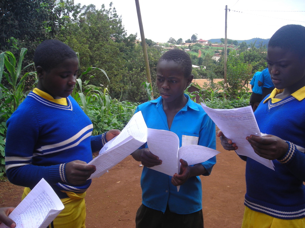 Some of the Orphans received their Exams Papers