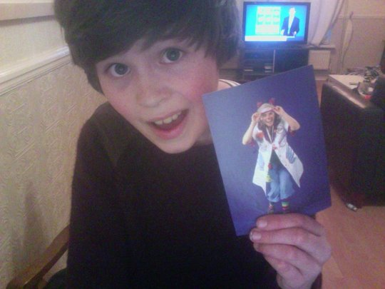 Harry with his postcard from Dr Dovetail