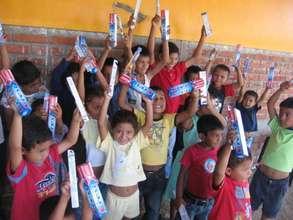Children in Nicaragua celebrate clean teeth!