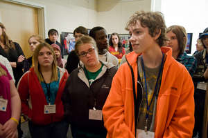 Students attending the Race Exhibit
