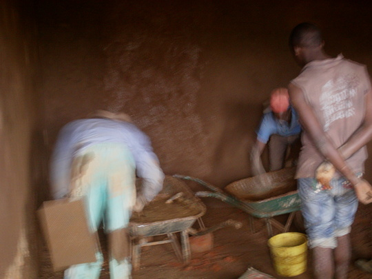 Plastering the inner parts of the maternity ward