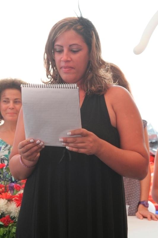 mother making a speech on the graduation
