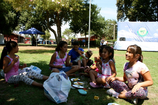 Cooling down in the shade, enjoying healthy snacks