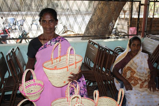 CERI Beneficiary Sells the Baskets She Wove