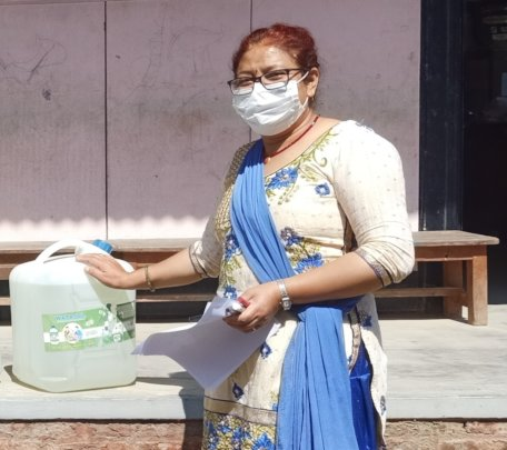Chlorine solution provided to a school