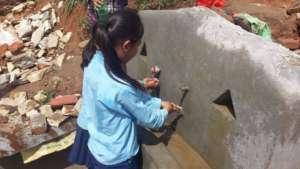Sanitation corner under construction, Majh Gaun