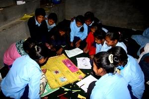 Students preparing Wall Magazine in Training