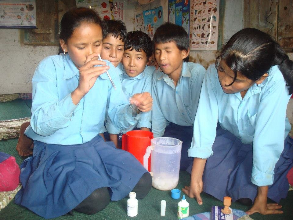 Students testing water quality and contamination